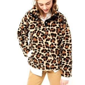 J. Crew Vintage Fleece Pullover Sherpa Leopard